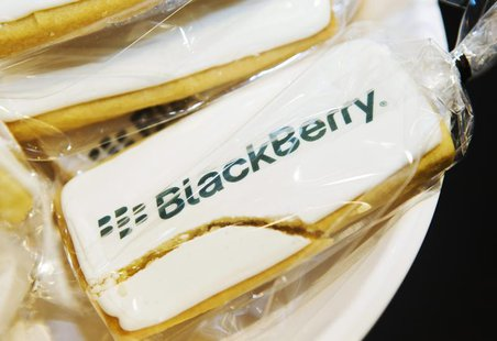 A view shows a cracked cookie with a Blackberry logo at the Blackberry Z10 launch at a Rogers store in Toronto February 5, 2013. REUTERS/Mar
