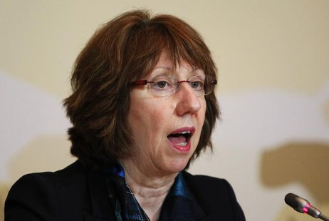 European Union Foreign Policy Chief Catherine Ashton attends a news conference after the talks on Iran's nuclear programme in Almaty, April