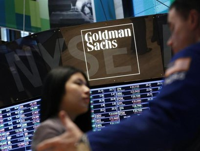 A Goldman Sachs sign is seen on the floor at the New York Stock Exchange, March 15, 2013. REUTERS/Brendan McDermid