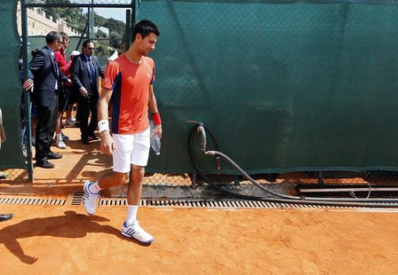 Novak Djokovic of Serbia arrives for a training session during the first round of the Monte Carlo Masters in Monaco April 16, 2013. REUTERS/