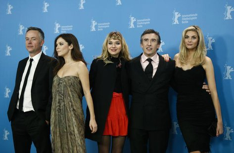 Director Michael Winterbottom and actors Anna Friel, Imogen Poots, Steve Coogan and Tamsin Egerton (L-R) pose during a photocall to promote