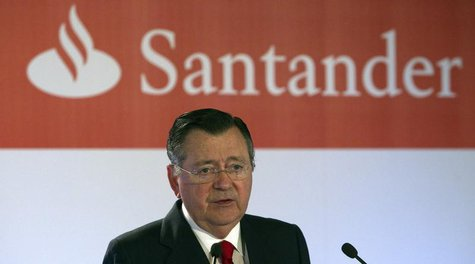 Alfredo Saenz, Chief Executive Officer (CEO) of Spanish bank Santander, speaks during a news conference to present the company's first quart