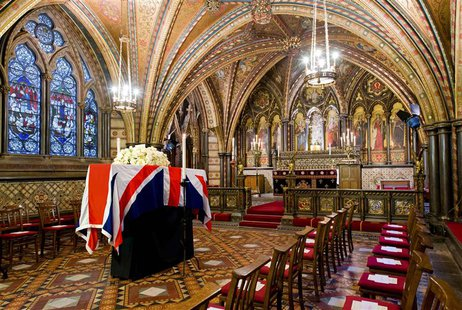 The coffin of former British prime minister Margaret Thatcher rests in the Crypt Chapel of St Mary Undercroft, at the Palace of Westminster
