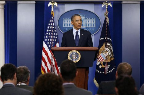 U.S. President Barack Obama talks about the bomb blast at the finish line of the Boston Marathon while in the Brady Press Briefing Room at t