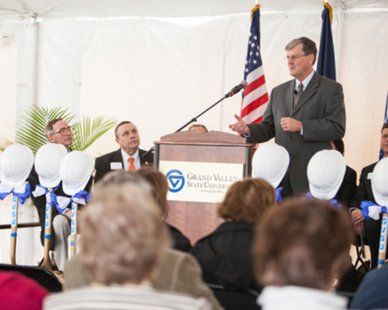 GVSU President Thomas Haas speaks during the ceremonial ground breaking of a new science building on the Allendale Campus on Apr. 15, 2013. (photo courtesy Grand Valley State University)