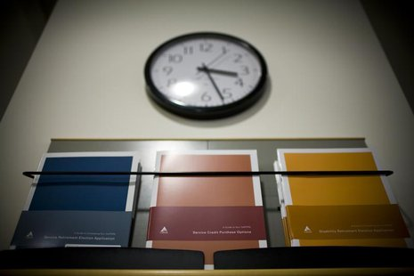 Retirement plan brochures are seen on display at the Calpers regional office in Sacramento, California October 21, 2009. REUTERS/Max Whittak