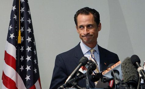 File photo of Anthony Weiner announcing that he will resign from the United States House of Representatives during a news conference in Broo