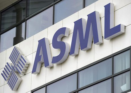 ASML's logo is seen on the day of the presentation of the 2011 fourth quarter and annual results in Veldhoven January 18, 2012. REUTERS/Robi