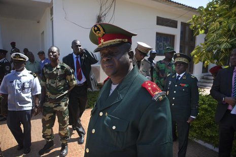 Guinea-Bissau armed forces chief-of-staff General Antonio Indjai (C) leaves a meeting with the president and the regional body of the Econom