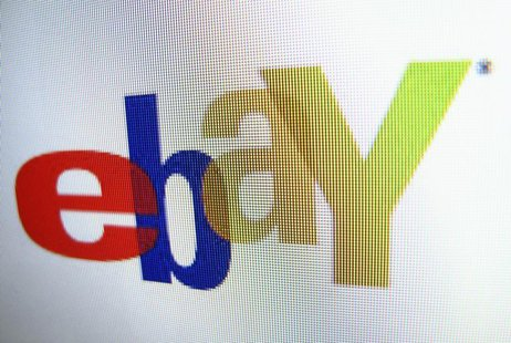 An Ebay logo is displayed on a monitor in this photo illustration in Encinitas, California, April 16, 2013. Ebay will report their earnings