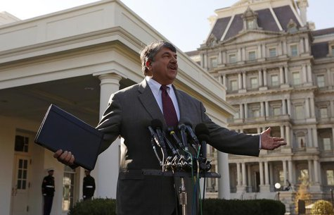 AFL-CIO President Richard Trumka talks to reporters at the White House after a meeting between U.S. President Barack Obama and leaders from