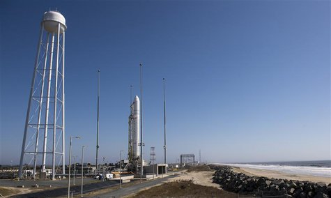 The Orbital Sciences Corporation Antares rocket is seen on the Mid-Atlantic Regional Spaceport (MARS) Pad-0A at the NASA Wallops Flight Faci