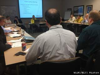 Cellcom Green Bay Marathon Executive Director Sean Ryan (in yellow jacket) sits next to Bellin Run Executive Director Randy Van Straten at a race public safety meeting April 17, 2013 in Allouez. (courtesy of FOX 11).