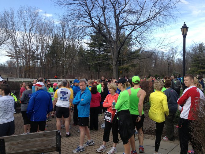 A group of nearly 300 gathered at the start/finish line - Kalamazoo Solidarity Run