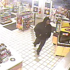An armed robbery suspect is seen in surveillance footage in Emmett Township.