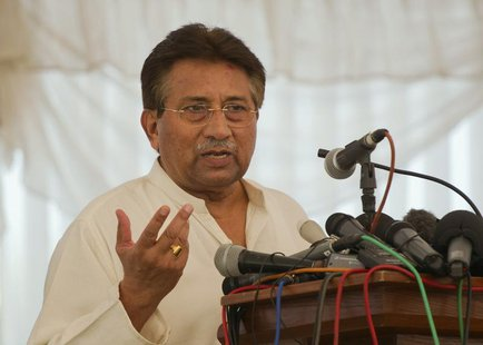 Pakistan's former President and head of the All Pakistan Muslim League (APML) political party Pervez Musharraf speaks as he unveils his part