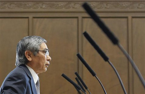 File photo of Bank of Japan's (BOJ) Governor Haruhiko Kuroda speaking during the upper house Financial Affairs committee of the Parliament i