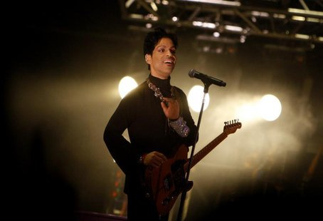U.S. musician Prince performs on the main stage during Budapest's Sziget music festival on an island in the Danube River in this August 9, 2