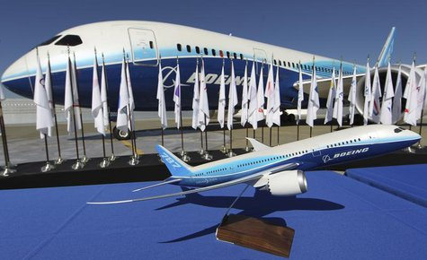 A scale model of the Boeing 787 Dreamliner sits on a table in front of an actual aircraft during the 787's certification event at Paine Fiel