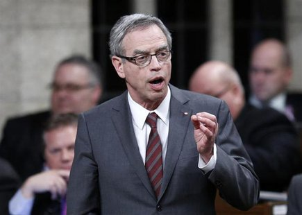 Canada's Natural Resources Minister Joe Oliver speaks during Question Period in the House of Commons on Parliament Hill in Ottawa March 26,