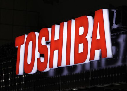 A view shows Toshiba Corp's logo at the fourth International Photovoltaic Power Generation (PV) Expo in Tokyo March 2, 2011. REUTERS/Yuriko