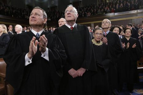 U.S. Supreme Court Justices Chief Justice John Roberts, Anthony Kennedy, Ruth Bader Ginsburg, Stephen Breyer, Sonia Sotomayor and Elena Kaga