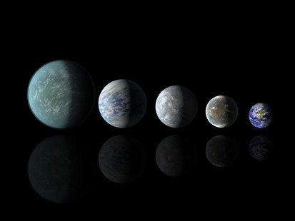 Relative sizes of Kepler habitable zone planets discovered as of April 18, 2013 in this artist's rendition provided by NASA. REUTERS/NASA Am