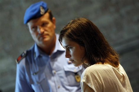 Amanda Knox, the U.S. student convicted of killing her British flatmate in Italy three years ago, attends a trial session in Perugia July 25