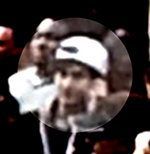 Security camera photo of Dzhokhar Tsarnaev at the Boston Marathon.  It was these photos that helped bring the two suspects to ground.