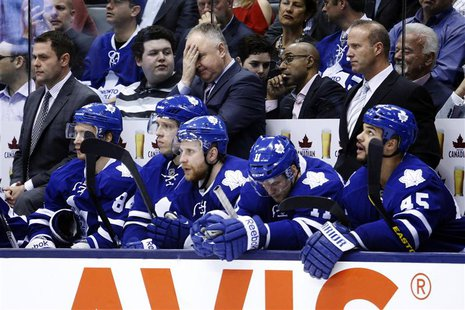 Toronto Maple Leafs head coach Randy Carlyle gestures as his team plays the New York Islanders during the third period of their NHL hockey g