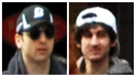 A combination of handout pictures released through the FBI website on April 18, 2013 show the suspects wanted for questioning in relation to