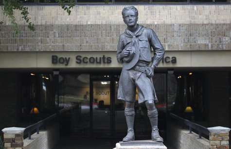 The statue of a scout stands in the entrance to Boy Scouts of America headquarters in Irving, Texas, February 5, 2013. REUTERS/Tim Sharp