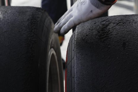 A pair of Pirelli's new P Zero Red supersoft tyres are seen after the second practice session of the Australian F1 Grand Prix at the Albert