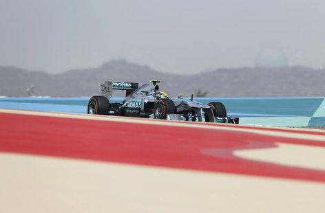 Mercedes Formula One driver Lewis Hamilton of Britain drives during the second practice session of the Bahrain F1 Grand Prix at the Sakhir c