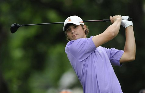 Amateur Peter Uihlein of the U.S. tees off on the third hole during the first round of the 2011 U.S. Open golf tournament at Congressional C