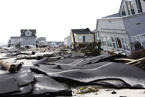 Streets damaged during Hurricane Sandy are seen in Ortley Beach, New Jersey, in this November 10, 2012 file photo. REUTERS/Tim Larsen/Govern