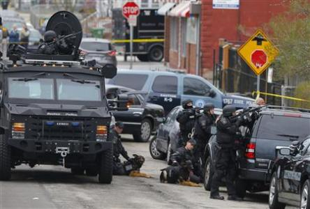 A police manhunt in Watertown, MA (Reuters)