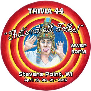 The logo for Trivia 44, the World's Largest Trivia Contest at WWSP 90fm in Stevens Point