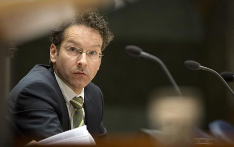 Jeroen Dijsselbloem, Dutch Finance Minister and head of the Eurogroup of euro zone finance ministers, looks on during questions about Cyprus