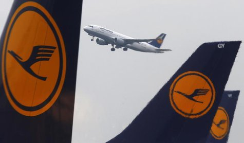 Aircraft of German air carrier Lufthansa are seen at the airline's main hub, the Fraport airport in Frankfurt, March 11 2013. REUTERS/Kai Pf