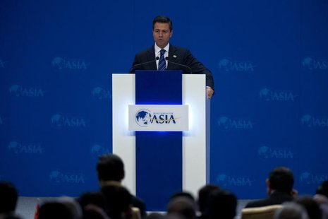 Mexican President Enrique Pena Nieto speaks at the opening ceremony of the annual Boao Forum in Boao, in southern China's Hainan province, A