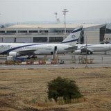 El Al planes are seen parked at Israel's Ben-Gurion International Airport near Tel Aviv, during a strike by airline workers, April 21, 2013.