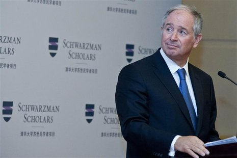 Stephen Schwarzman, chairman and CEO of the Blackstone Group, gives a speech at a news conference for the launch of the Schwarzman Scholars