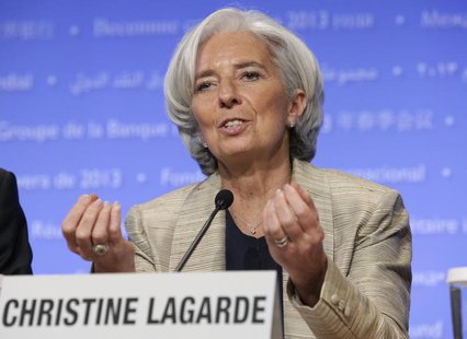 International Monetary Fund (IMF) Managing Director Christine Lagarde speaks at a news conference during the Spring Meeting of the IMF and W