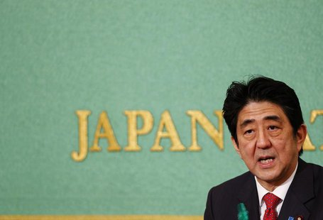 Japan's Prime Minister Shinzo Abe speaks during a news conference at the Japan National Press Club in Tokyo April 19, 2013. REUTERS/Yuya Shi