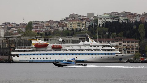 The Turkish-owned cruise liner Mavi Marmara is seen under maintenance at a shipyard in Istanbul April 21, 2013. Israel apologised to Turkey
