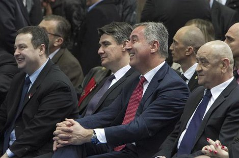 (L-R) Serbia's Prime Minister Ivica Dacic, Croatia's Prime Minister Zoran Milanovic, Montenegro's Prime Minister Milo Djukanovic and Bosnia'