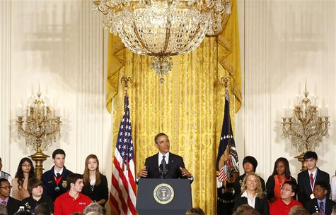 U.S. President Barack Obama speaks to the national winners as he hosts a White House Science Fair in the East Room at the White House in Was