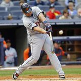 Detroit Tigers' Miguel Cabrera hits a two run home run against the New York Yankees in the first inning of Game 2 of their MLB American League Division Series baseball playoffs at Yankee Stadium in New York, October 2, 2011. REUTERS/Mike Segar