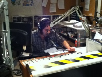 UW Stevens Point's WWSP Radio Announcer and Station Manager Jesse Hinze reads another question for Trivia 44.